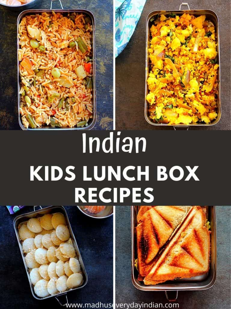 4 pictures of kids lunch box dishes.