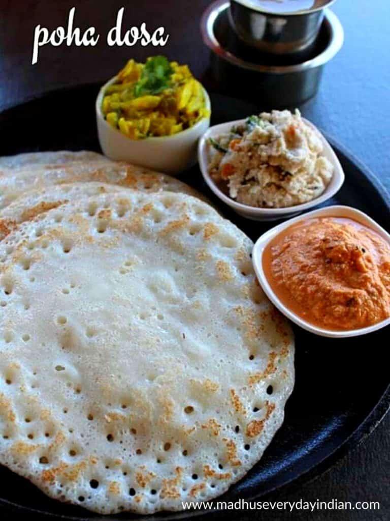 atukula dosa served with chutney and potato palya.