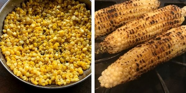 sauteed corn in a pan and grilled 3 corn.
