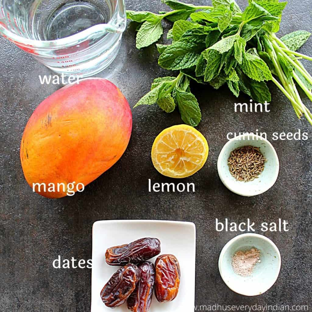 picture of the ingredients needed to make aam panna