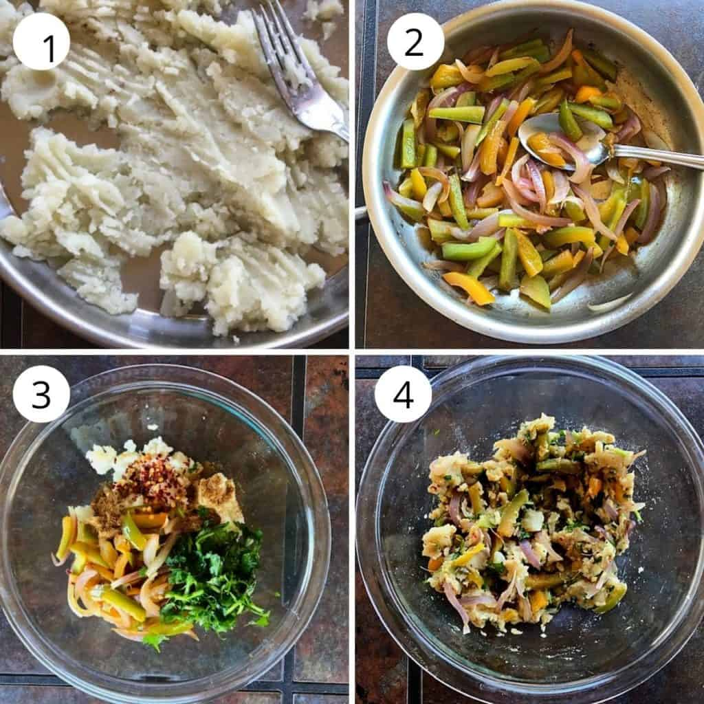 1 pic- cooked and mashed potato, 2nd pic - sautéed onion, bell pepper, 3 and 4th pic- potato mixed with cpices and sauteed onion and cilantro.