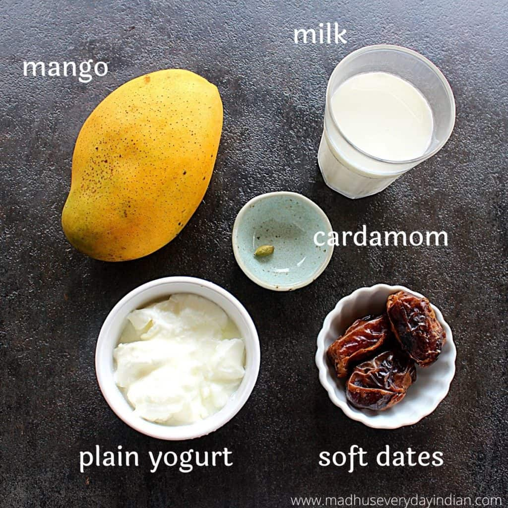 picture of the ingredients needed to make mango lassi