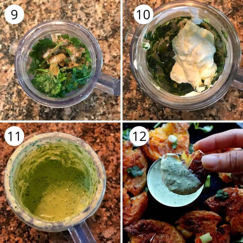 cilantro jalapeno chutney made in a blender with sour cream.