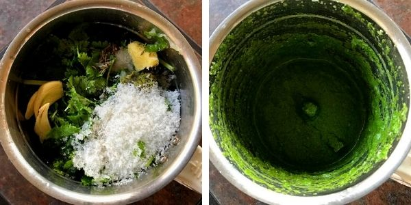 coriander, coconut, ginger, garlic and green chili added to blender and pureed