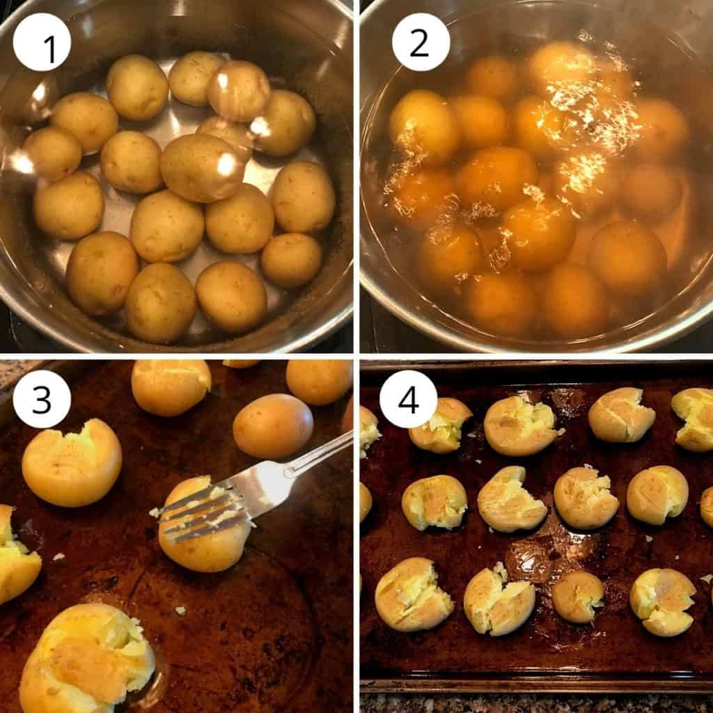 boil the potato till fork soft and smash them with a fork.