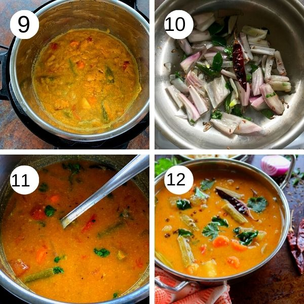 cooked sambar, tempering of mustard and onion added to the sambar.