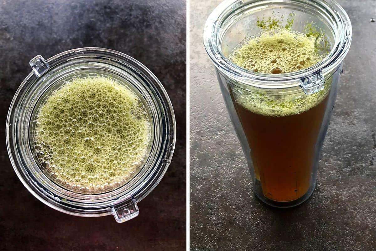 blended jaggery juice in a blender.