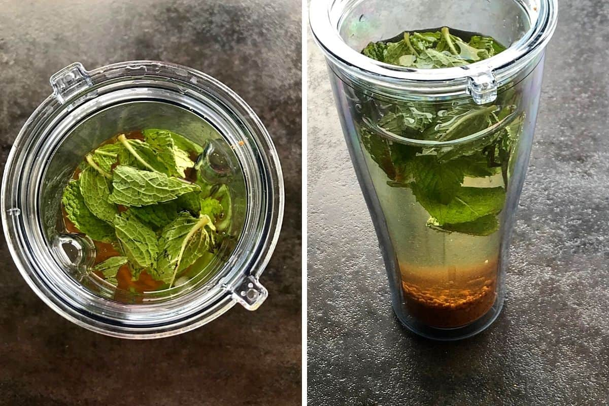 mint, water, salt and jaggery powder added to a blender.