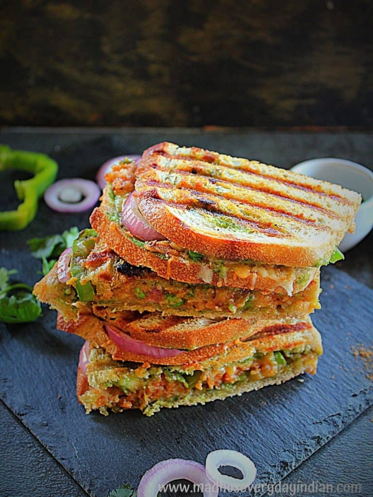 samosa grilled cheese sandwich staked on top of each other