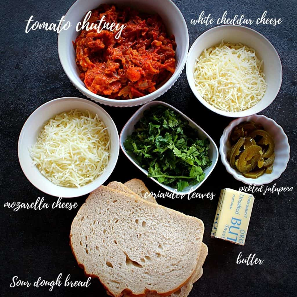 pic of tomato chutney grilled cheese ingredients
