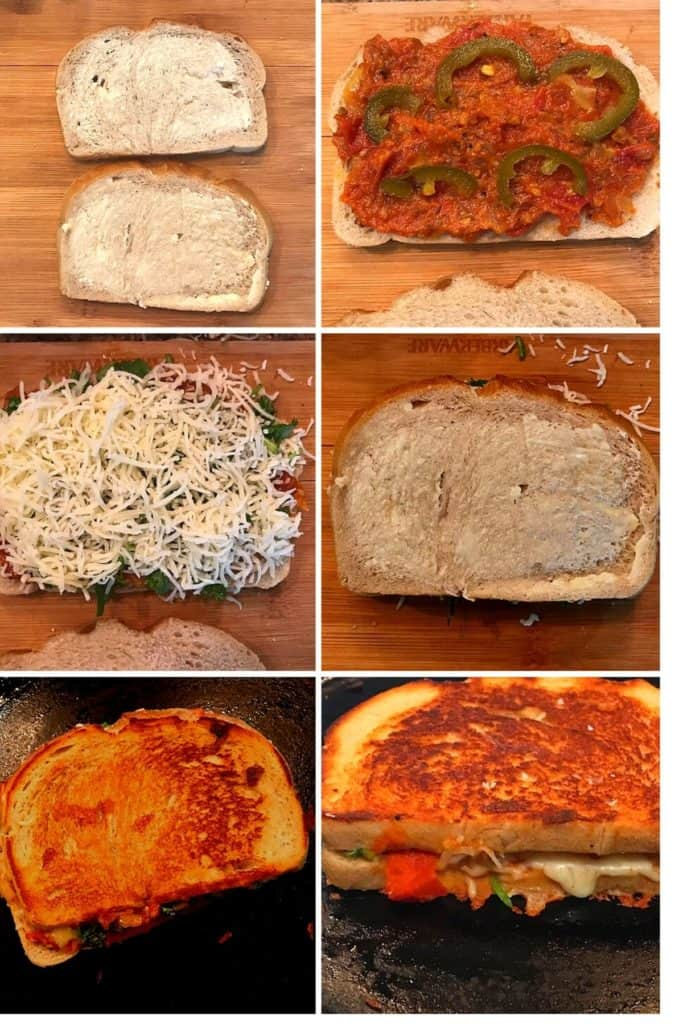 bread is buttered and topped with chutney, jalapeno and coriander and toasted till cripsy