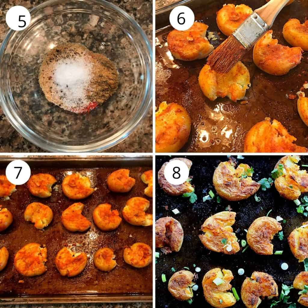 masala mixed in a glass bowl and rubbed on the potato and cooked till crispy in the oven.