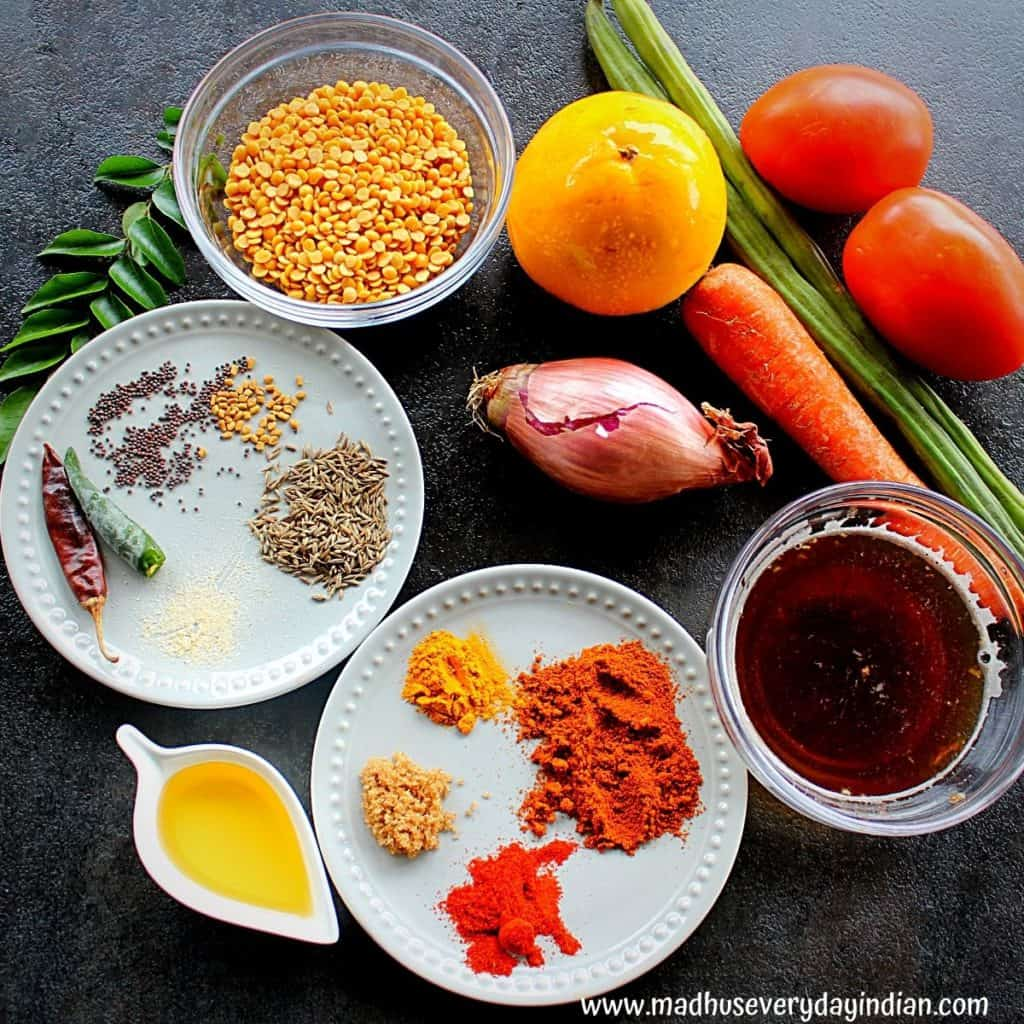 picture of all the ingredients needed to make mixed vegetable sambar in the instant pot