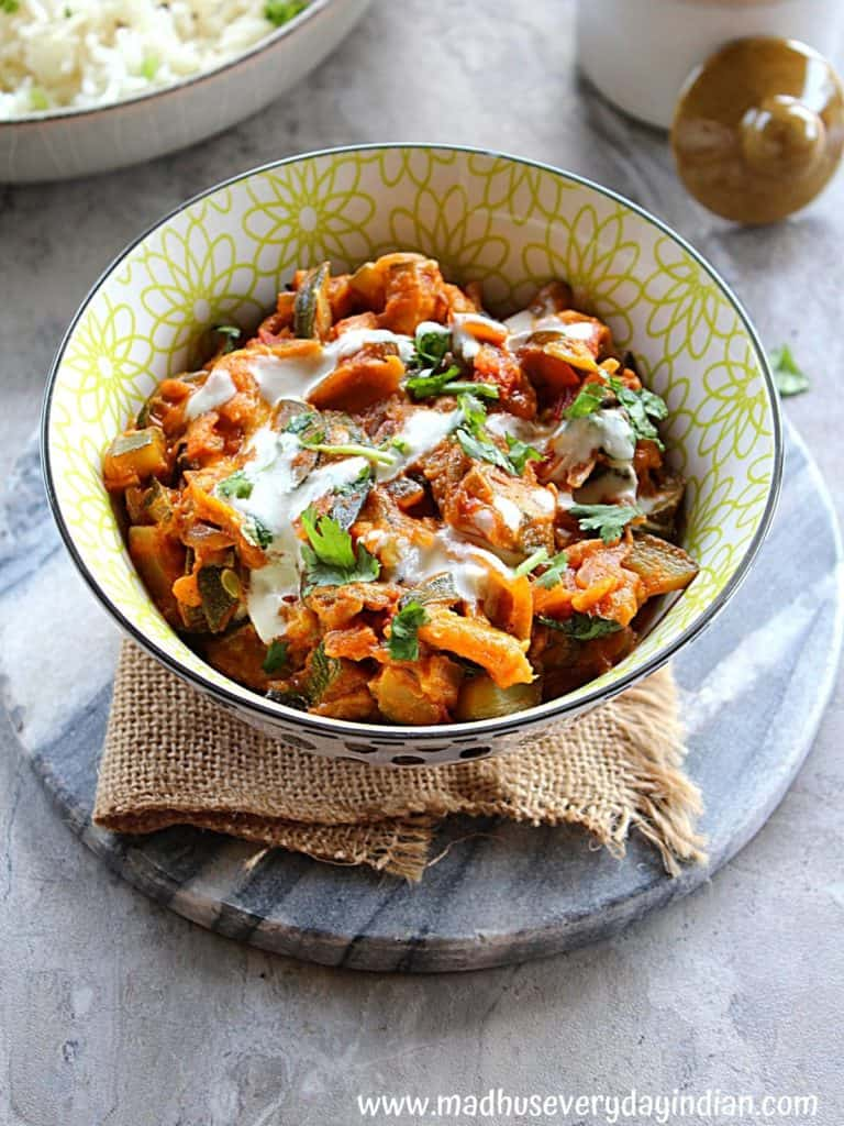 zucchini courgette curry drizzled with cashew cream
