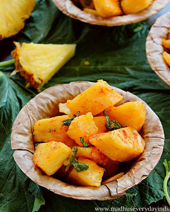 pineapple chaat served in a leaf cup