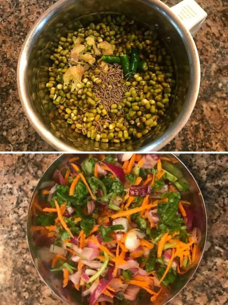 green moong dal, ginger and green chili in a blender and a plate with onion carrot and coriander mixture