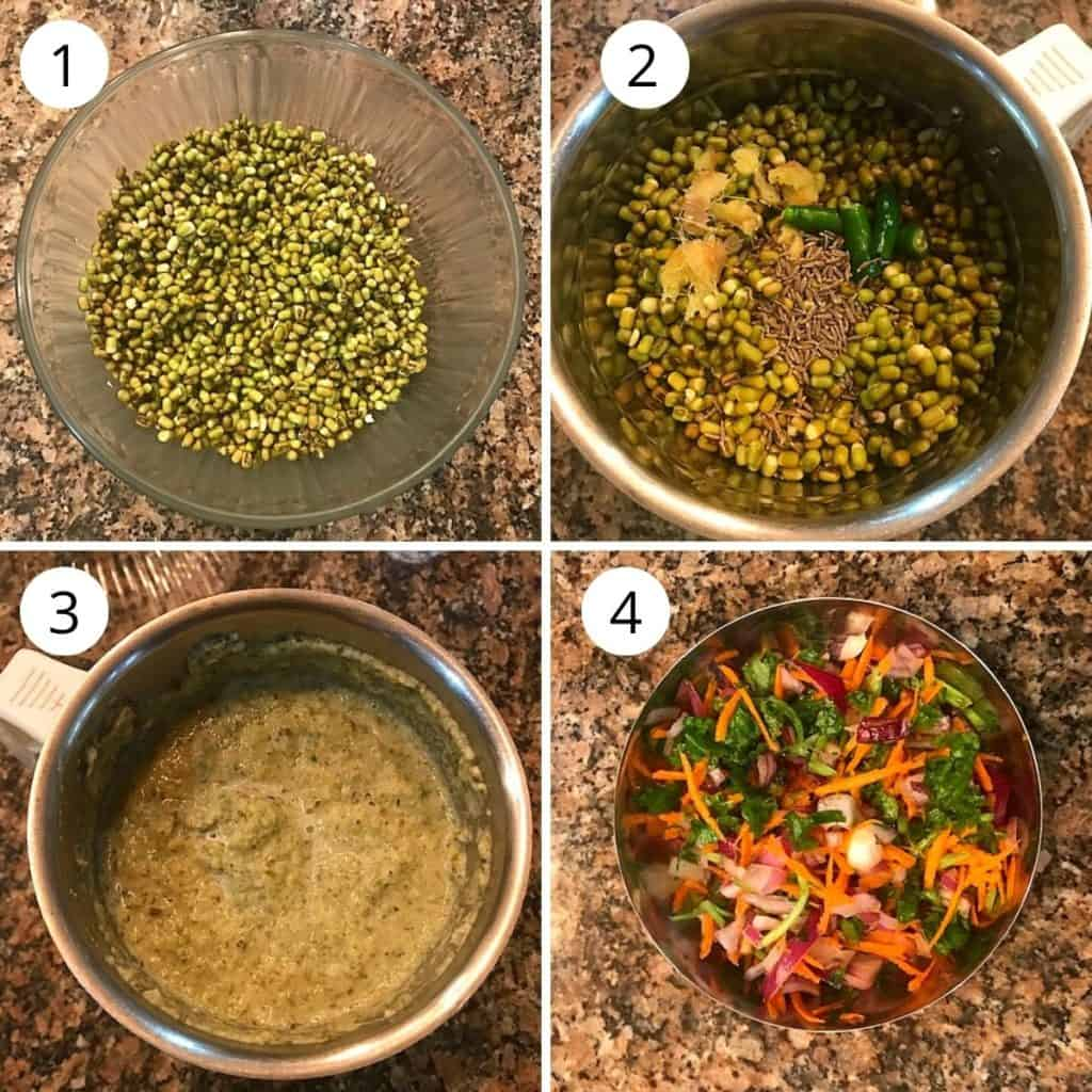 soaked green moong dal is ground to puree with spices, and a plate with onion carrot and coriander mixture