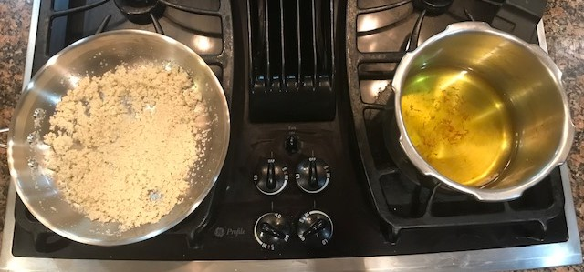 rava and sugar water simmering on two stoves