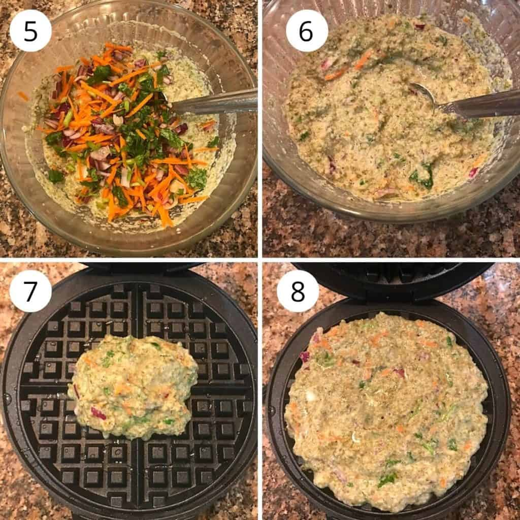 green moong dal batter is poured in a waffle maker and is spread
