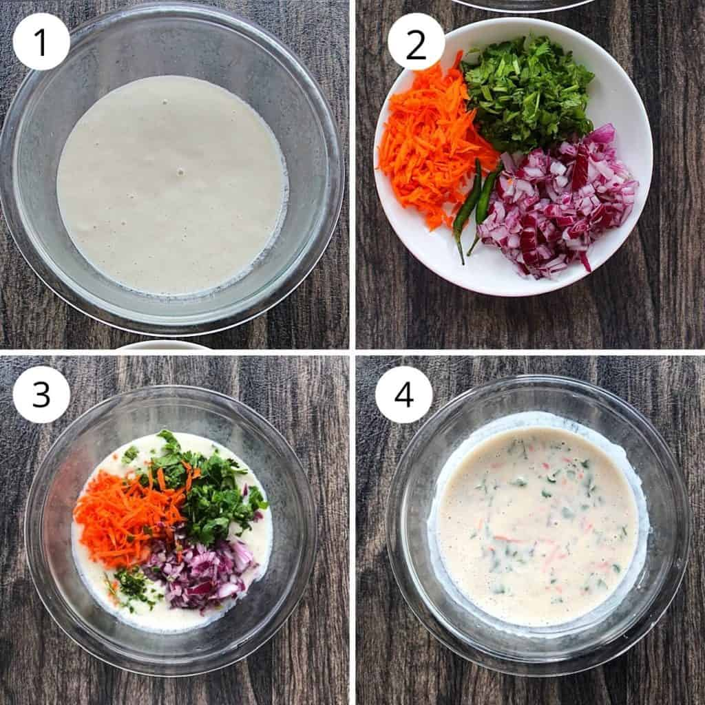 dosa batter, onion, carrot and coriander mixed in a bowl