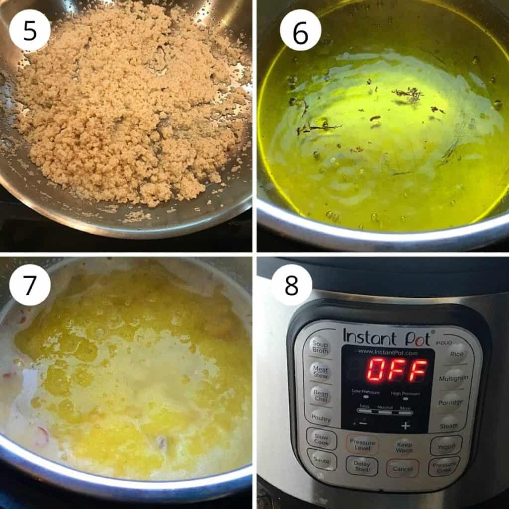 roasted rava is added to the boiling sugar syrup in instant pot.