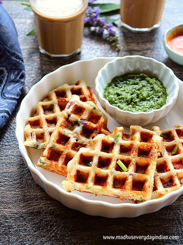 dosa waffles served with indian chutney and coffee