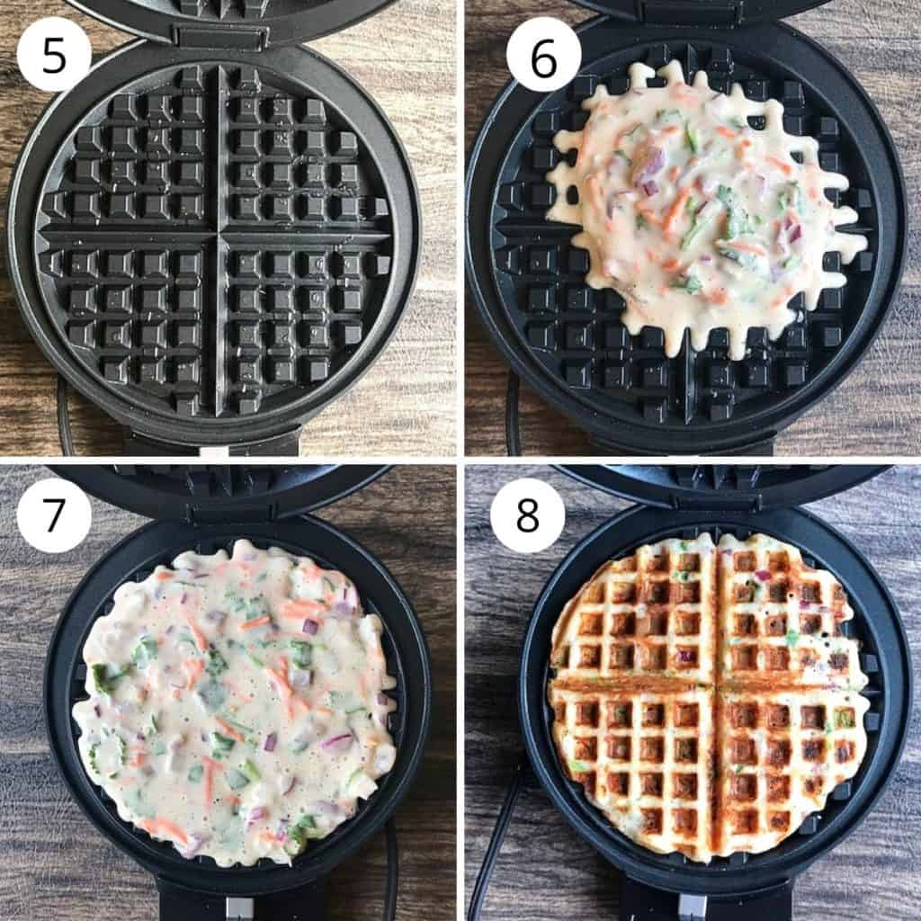 dosa waffle cooked in the waffle maker