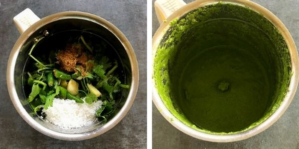 cilantro with other spices pureed in a blender