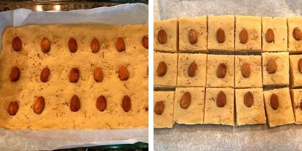 almond slices and saffron added and cut to bite size pieces