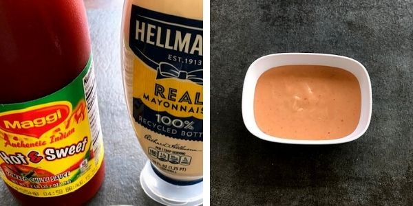 sweet and spicy chili sauce and mayo combined together