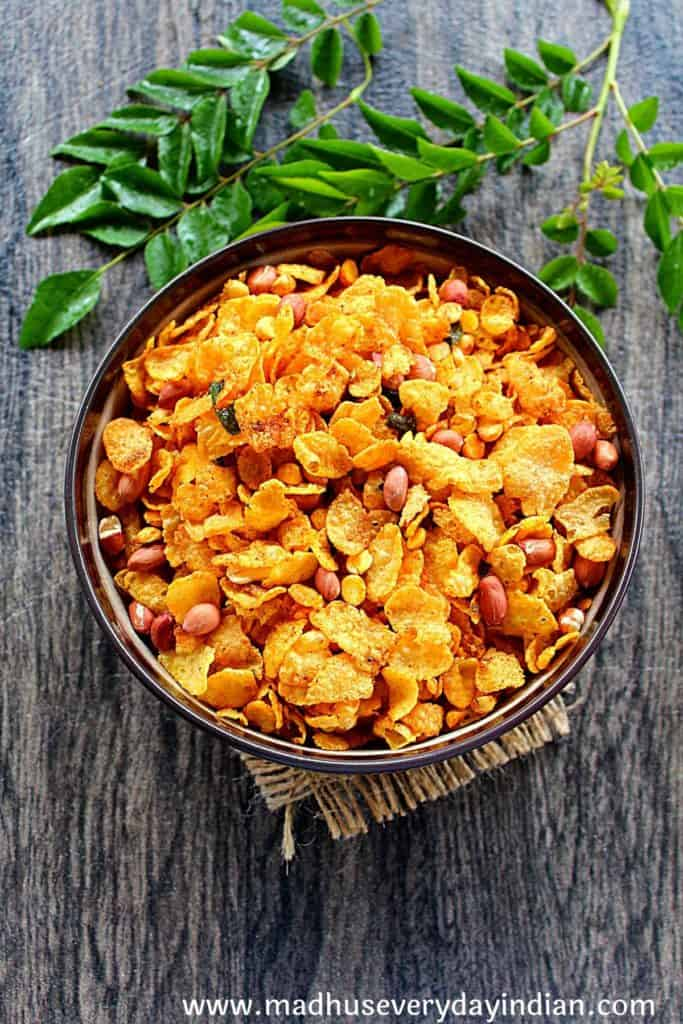 corn flakes chivda cereal served in a bowl