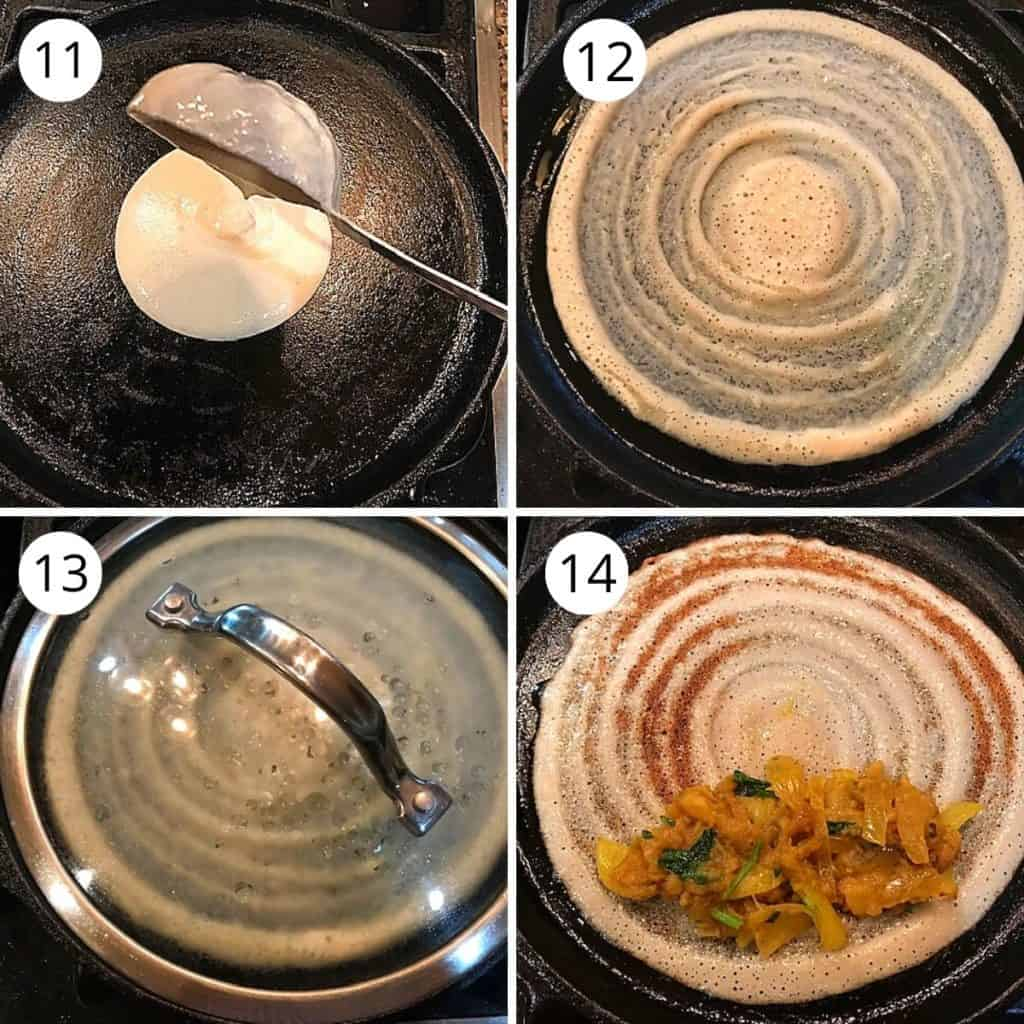 making crispy dosa in a cast iron pan