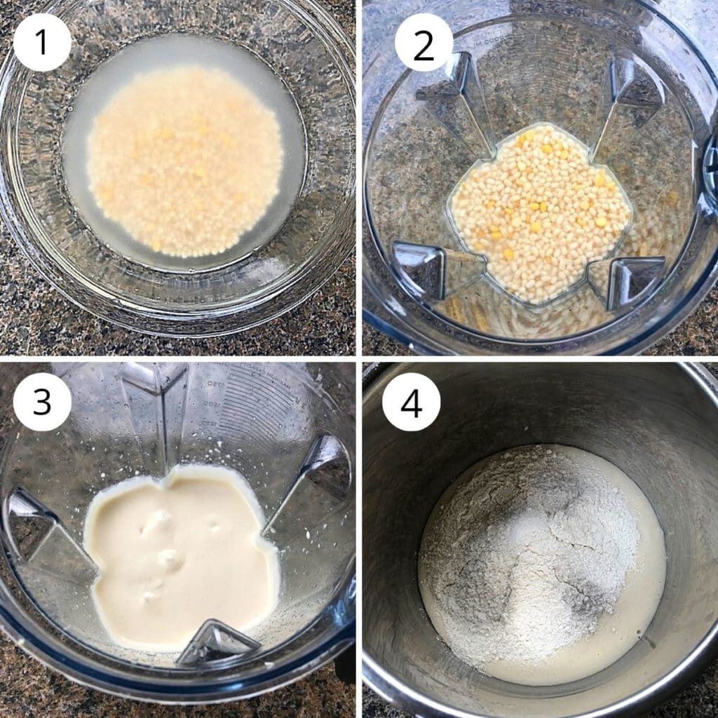 soaking and grinding urad dal in a blender