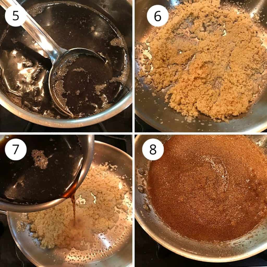 boiled jaggery water is added to roasted rava