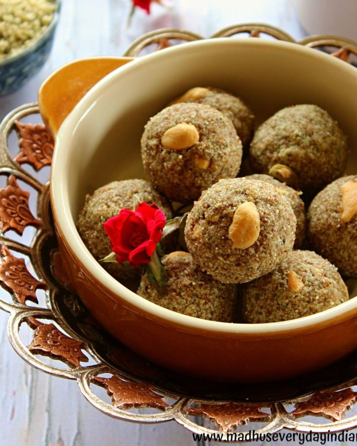 hemp seeds ladoo served in a large bowl garnished with cashew