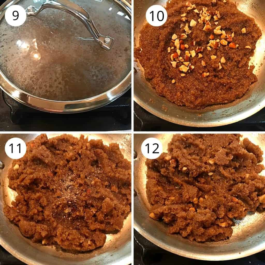 cooked halwa is garnished with roasted nuts and crushed cardamom