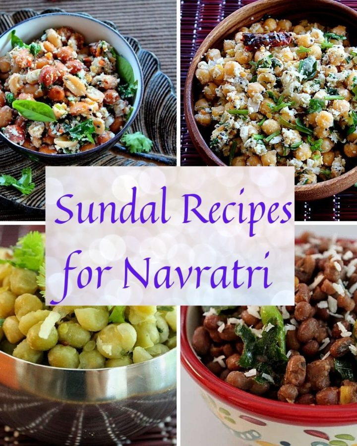 collage of 4 pics of sundal recipes
