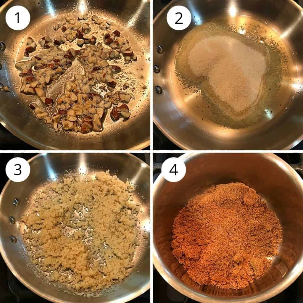 roasted nuts and suji in  pan and jaggery in another pan